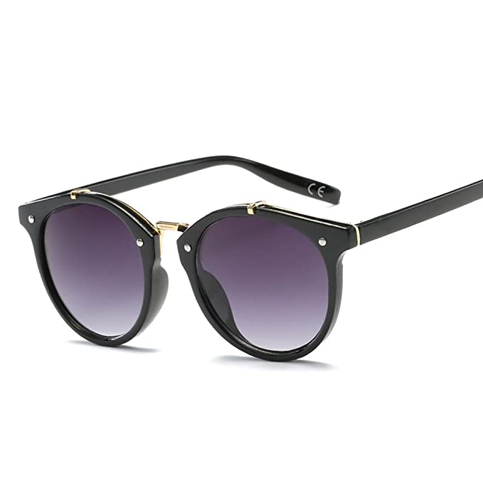 c3579b4cfb BVAGSS Fashion Round Retro Sunglasses Vintage Look Quality UV400 For Men  Women (Black frame with gradient gray lens