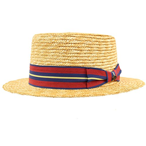 Unisex Maize Straw Stripe Band Porkpie Boater Derby Fedora Sun Hat Natural 7-1/4 (Maize Fedora Hat)
