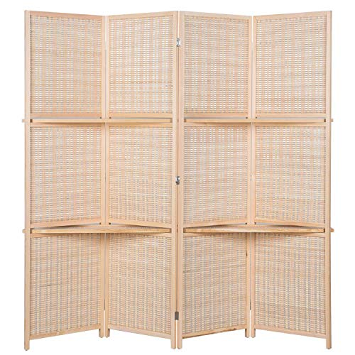 Fold Screen Privacy (AVIGNON HOME Deluxe Woven Bamboo Tall Wide Room Divider,Double Hinged,Room Divider/Screen, Room Dividers and Folding Privacy Screens, Freestanding Room Dividers (Beige, 4 Panel))