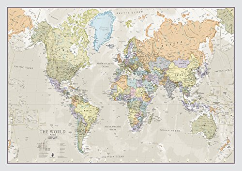 World Map Classic Style - Front Sheet Lamination - Cartographic Detal (A1 33.1 (w) x 23.4 (h) inches) (Christmas World Island Map)