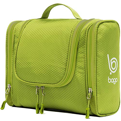 Bago Hanging Toiletry Bag For Women & Men - Leak Proof Travel Bags for Toiletries with Hanging Hook & Inner Organization to Keep Items From Moving - Pack Like a PRO (Green)