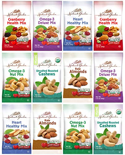 Healthy Premium Assorted Nuts and Fruits Snack Mix Sampler Variety Pack, Good for the Heart by Variety Fun (Care Package 12 Count)