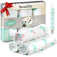 Premium Quality Baby Swaddle Blankets 100% Organic Muslin Cotton for baby boy...