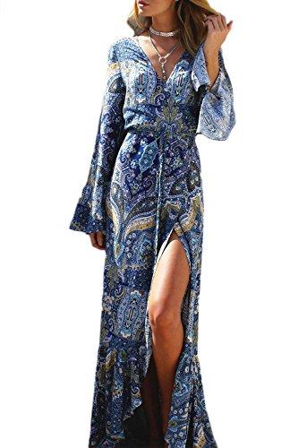 Cover V Boho Beachwear Blue Elegante Deep Mujeres Dress UPS Neck Maxi Wrap qznCtZdUZw
