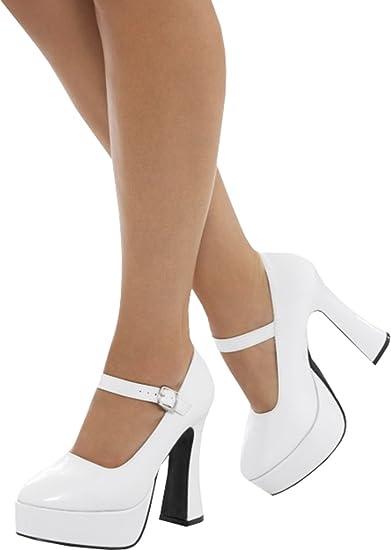 Onlyglobal Women 70s Fancy Dress Disco Party Footwear Ladies Platform Heel  Shoes White