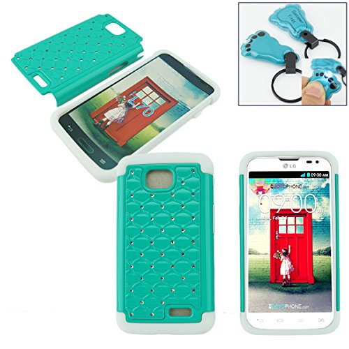 Customerfirst - Stud Diamond Studded Silicone Rubber Skin Hard Bling Case For LG ULTIMATE 2 L41C / LG REALM / LG OPTIMUS L70 - Free Flash Light Key Chain (D TEAL WHITE) (Brown L70 Case Lg Optimus)