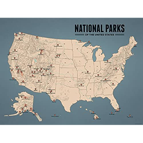 best maps ever us national parks map 18x24 poster tan slate blue