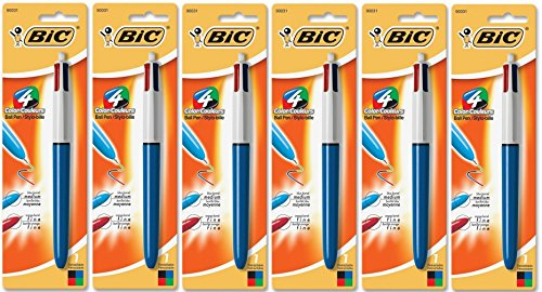 BIC 4-Color Ball Point Pen, Six 1 Count Packs, 6 Total (MMXP11 - Ast)