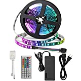 SUPERNIGHT RGB Light Strip Kit, Black PCB, 16.4ft 300leds Non-Waterproof Rope Lighting with 12V 5A Power Adapter and Remote Controller Dimmer for Bedroom TV Blacklighting Home Halloween Christmas