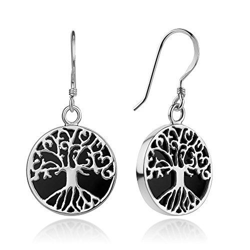 Sterling Silver Filigree Tree of Life Symbol Midnight Black Enamel Dangle Hook Earrings (Silver Filigree Tree)