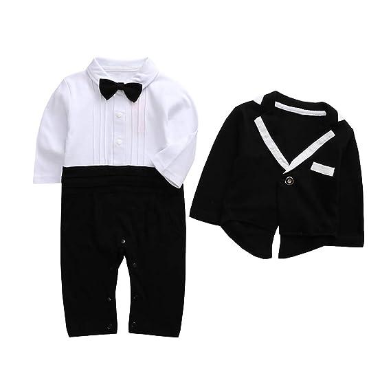 6affefa4b4e7e SXSHUN Bébé Garçon Vêtements Romper Combinaisons Chemise + Costume Cravate  Blazer Gentleman Messieurs Mariage Fête Cérémonie