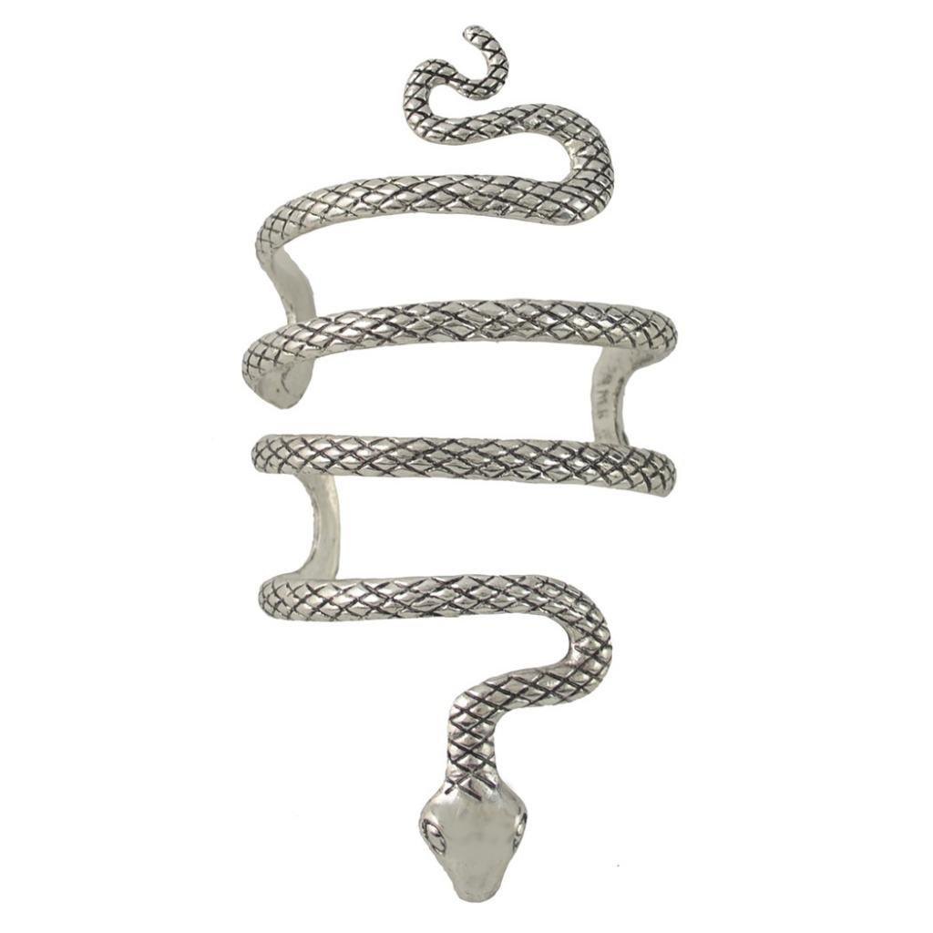 81551e341dfc Sharplace Brazalete Abierto Ajustable, en Forma de Serpiente Enrollada,  Color Plata, Pulsera de Diseño Creativo