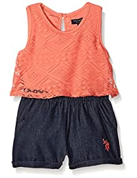 U.S. Polo Assn. girls Sleeveless Flounce Top and Denim Short Romper