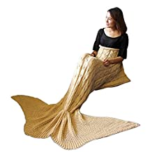 Becoler Girls Crochet Mermaid Tail Blanket Knitting Sleeping Bag for Women Soft and Wram Handcraft Bed Blankets Sofa Blankets for Kids and Adults Fish-Scale Pattern Mermaid Blanket(63 by 24 inch )