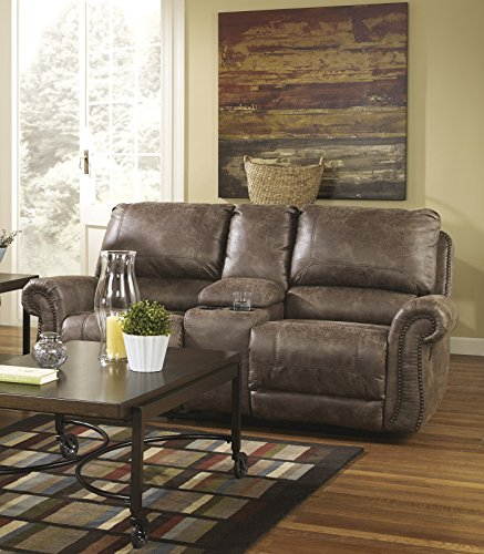 Oberson contemporary gunsmoke faux leather double Oberson gunsmoke reclining living room set