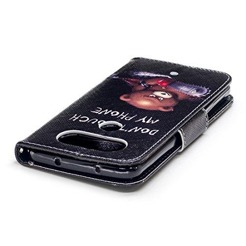 fente étui cuir de portefeuille aérosol en pour Bear Hozor Q8 magnétique Flip conception PU d'impression carte avec peint cas en fermeture avec support protection LG nnRqxPa