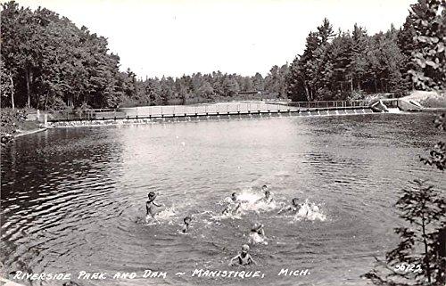 Riverside Park and Dam Manistique, Michigan postcard
