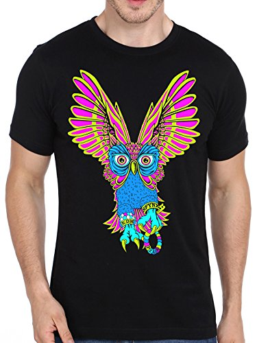 SFYNX 'Plur Owl' Mens Rave T Shirt - EDM Clothing - Blacklight Reactive Tee (X-Large)