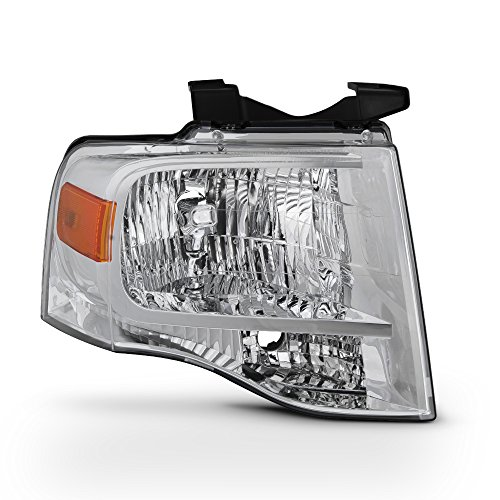 For 2007-14 Ford Expedition 4-Door SUV Passenger Side Only Headlight Assembly Chrome Housing Clear Lens - Ford Expedition Headlight Assembly