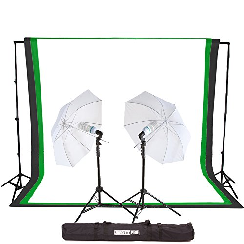 Fovitec StudioPRO 450 Watt Photography Light Photo & Video Studio Umbrella Continuous Lighting Kit, 6FT. x 9FT. Black, White & Green Chroma key Photo Backdrops Includes Background Support Kit ()
