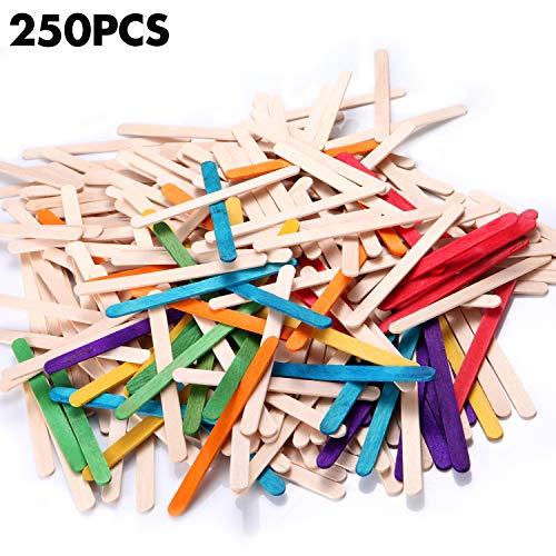 - Yizerel 250 Pcs Jumbo Craft Sticks, 2 Colors (Natural 200 Pcs, Rainbow 50 Pcs) Ice Cream Sticks Natural Wood Popsicle Sticks 4-1/2