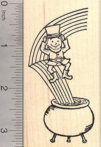 Leprechaun Rubber Stamp, St. Patrick's Day Rainbow and Pot of Gold -