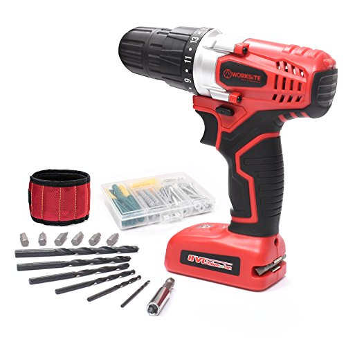 Cheap WORKSITE 8V Electric Cordless Drill ScrewDriver With 1300mA Lithium-Ion Battery, 16 Position Keyless Clutch, Variable Speed Switch, Lightweight, Built-in LED Light, 13 Pcs Bits Set, Magnet Wristband