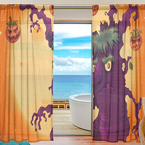 Splicing Pattern Spooky Halloween Tree Semi Sheer Curtains Window Voile Drapes Panels Treatment-55X78in for Living Room Bedroom Kids Room ()