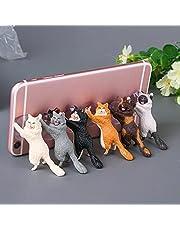 XIEJ Soporte para teléfono 6 piezas Soporte para teléfono para gato, soporte para teléfono lindo gato lechón Soporte para teléfono de escritorio universal Compatible con varios teléfonos móviles