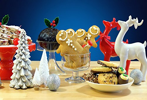 Laeacco 7x5ft Photography Backdrop Reindeer Dessert Decorate Table Vinyl Photo Background Cookies Pine Nuts Red Fruit Plate Blue Background Christmas Day Photo Backdrops Studio - Garland Plate Dessert