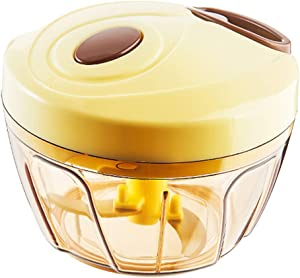 Sarazong Manual Food Chopper Hand-Powered Food Processor Compact Handheld Vegetable/Onion/Salad Chopper, Garlic Squeezer, Ginger Slicer,M