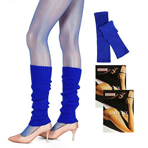 JoyJon Leg Warmers Women 80s Themed Costume Dance Sports 2 Pairs Fishnet Stockings Knit Leg Warmers