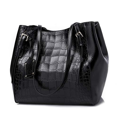 Mn&Sue Alligator Texture Shoulder Tote Bags Big Capacity Purses and Handbags for Women Adjustable Handles (Black)