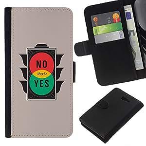 Sony Xperia M2 - Dibujo PU billetera de cuero Funda Case Caso de la piel de la bolsa protectora Para (No Maybe Yes - Minimalist Design)