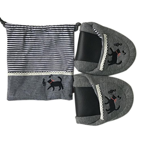 Mute Voyage Semelle Pliantes Chaussures Portable Transportant Stockage Femmes des Printemps DANDANJIE Coton Pantoufles en Pantoufles Gray Intérieur à Souple Voyage BpYqqO