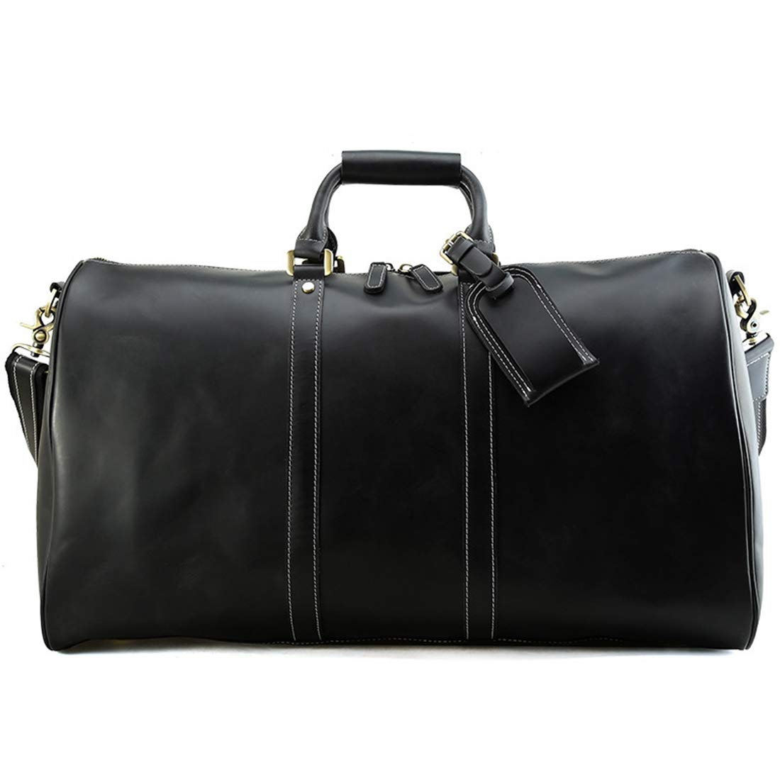 Carriemeow Leather Large-Capacity Bag Portable Mens Leather Shoulder Messenger Bag Long-Distance Travel Bag Weekend Activities Package Color : Black