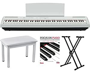yamaha p115 88 weighted keys white digital piano w knox piano bench stand music. Black Bedroom Furniture Sets. Home Design Ideas
