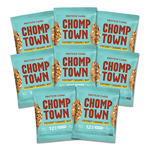 - Chomptown | Coconut Caramel Nut | High-Protein Cookie | 13g Protein | Gluten-Free | Dairy-Free | Non-GMO | 2.75 oz (Pack of 8)