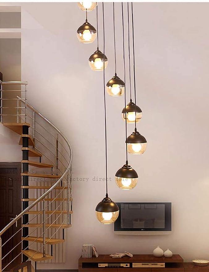 Iluminación Colgante 10 Luz Pendiente de la lámpara de Cristal Escalera Larga de la lámpara Moderna Minimalista nórdico Dúplex Escalera giratoria de la lámpara lámpara de Cristal Escalera A+: Amazon.es: Hogar