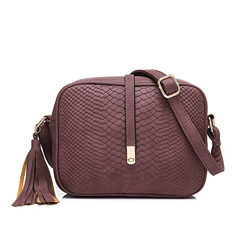 Realer Small Crossbody Leather Purses And Handbags With Shoulder Strap Purple For Black Women