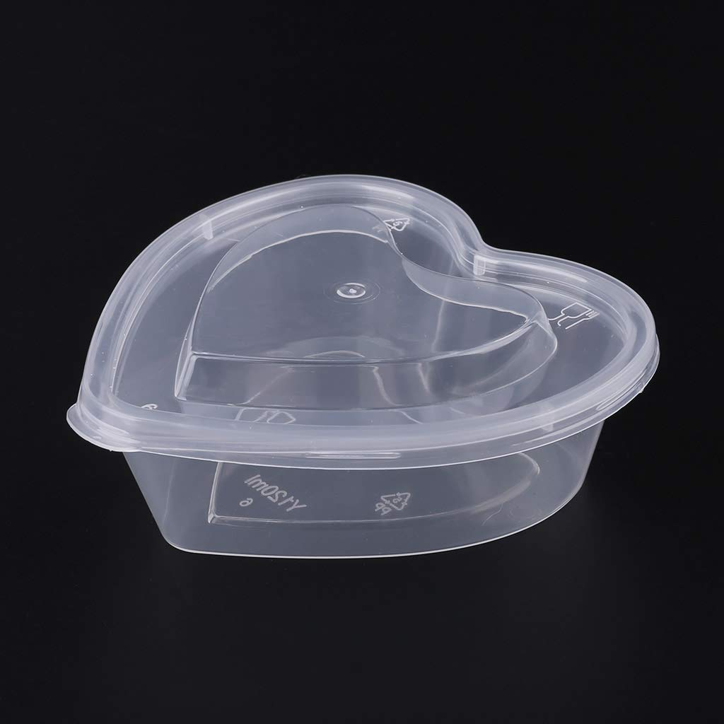 JUNESUN Heart Shape Clear Plastic Sauce Chutney Cups Food Container Slime Storage Box Case with Lid 120ml by JUNESUN (Image #4)