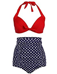 American Trends Women's Vintage Polka Dot High Waisted Bikini Set Swimsuits(S/US Szie 2-4, Red Blue)