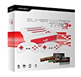 Retro Bit Super Retro TRIO HD Plus 720P 3 in 1 Console System (2018) with Jaleco Brawler's Pack SNES Cartridge Bundle for NES, SNES, and Sega Genesis Original Game Cartridges - Red/White
