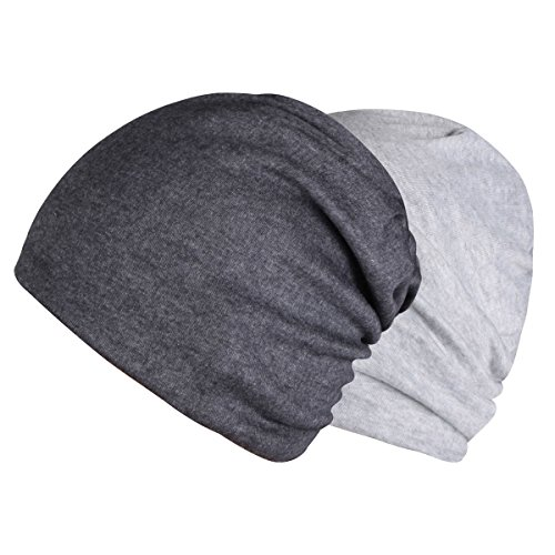 Timol 2 Pack Grey Beanie Chemo Caps for Women Men Cancer Headwear Winter Hat(Dark Gray and Light Gray)
