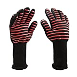 BBQ Grilling Gloves: 932ºF (500ºC) Extreme Heat Resistant -1Pair-13.6inch Long For BBQ, Kitchen Ovens, Baking, Frying, Roasting, Pot-handling With Careful Forearm Protection