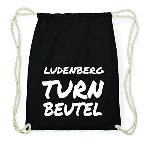 JOllify LUDENBERG Hipster Turnbeutel Tasche Rucksack aus Baumwolle - Farbe: schwarz Design: Turnbeutel