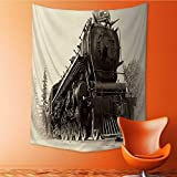 Vertical Version Tapestry or Northern Type Steam Train Engine Built by The Montreal Locomotive Works Throw, Bed, Tapestry, or Yoga Blanket 60W x 80L INCH