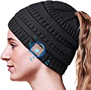 Bluetooth Beanie Gifts for Women, Ponytail Bluetooth Hat for Woman, Beanie with Headphones Upgrade Bluetooth 5