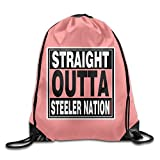Straight Outta Steeler Nation Folding Sport Backpack Drawstring Bag Customize Fashion