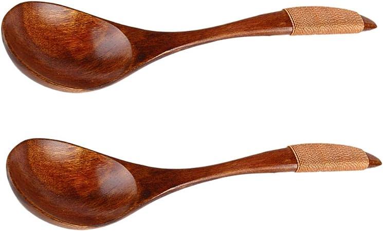 BESTONZON Cucharas de madera Cuchara de sopa de madera Vajilla japonesa Juego de cucharas de cucharas de madera para comer Mezclar Mezclar Cocinar para el restaurante en casa 2pcs // Brown